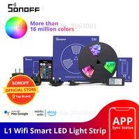 SONOFF L1 Smart LED-Licht Streifen Dimmbar Wasserdicht WiFi Flexible RGB Streifen Lichter Arbeit mit Alexa Google Hause, tanz mit Musik