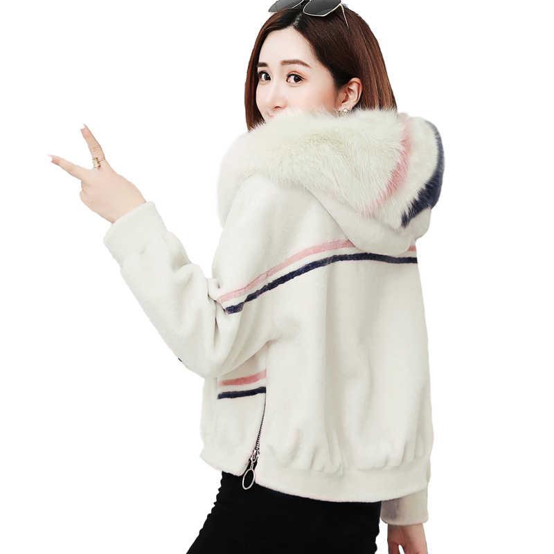 Kurtka zimowa damskie sztuczne futro z kapturem futrzana kurtka Plus rozmiar krótkie koreańskie kurtki dla kobiet Veste Fourrure Femme