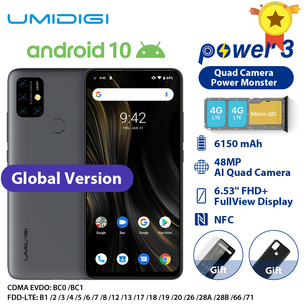"UMIDIGI Power 3 Moblie Phone Android 10 48MP Quad AI Camera 6150mAh 6.53"" FHD+ 4GB 64GB Helio P60 Global Version Smartphone NFC(China)"