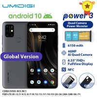 "UMIDIGI Power 3 Moblie Telefon Android 10 48MP Quad AI Kamera 6150mAh 6.53 ""FHD + 4GB 64GB Helio P60 Globale Version Smartphone NFC"