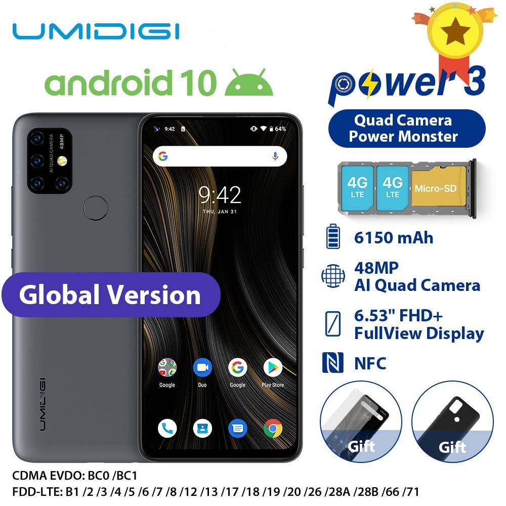 UMIDIGI power 3 Мобильный телефон Android 10 48MP Quad AI камера 6150 мАч 6,53