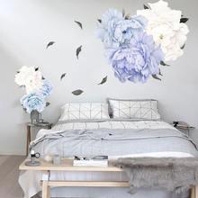40х60см синие розовые цветы пионы на стены наклейки Романтические