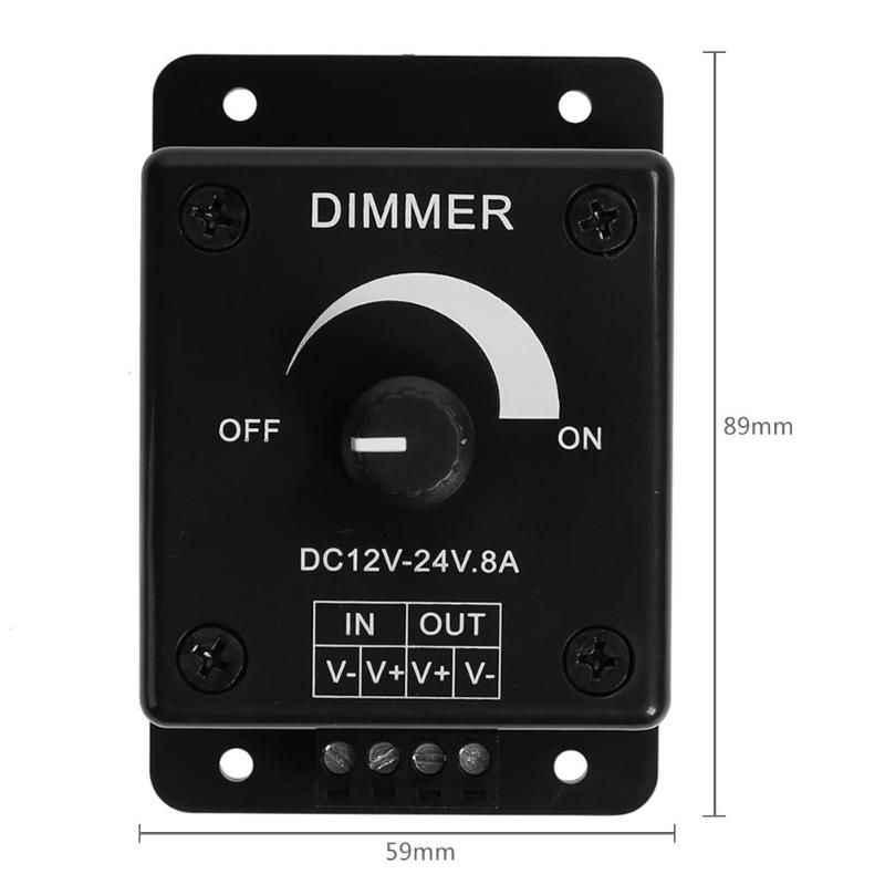Schwarz LED Dimmer Schalter DC 12V 24V 8A Einstellbare Helligkeit Lampe Streifen Fahrer Einzigen Farbe Licht Power supply Controller
