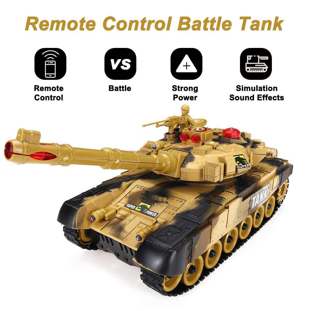 33/44cm RC Battle Tank Military Tactical Vehicle LED Alarm Sound Effect Remote Control Tanks Model With Chassis Toys For Boys