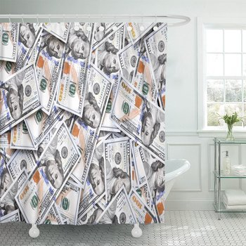 Green 100 Pile of One Hundred Us Dollars Banknotes Cash Bills with High Resolution Abundance American Shower Curtains Waterproof
