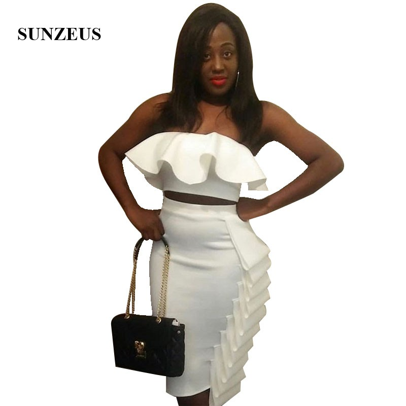 2 Piece   Cocktail     Dress   Strapless Crop Top Black Girl Party   Dresses   With Ruffles Sheath Knee Length Sexy Gowns Cocktailkleid