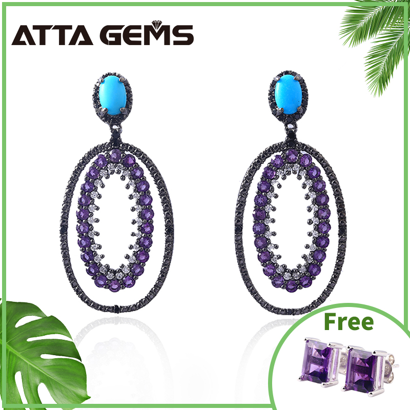 Natural Turquoise Sterling Silver Drop Earrings for Women Natural Amethyst Crystal Women's Wedding Party Silver Earrings