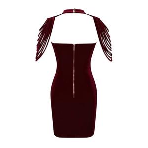Image 5 - Frauen Liebsten Samt Bodycon Kleid Abend Party Neue Jahr Outfit High Neck Geschichteten Quaste Backless Elegante Sexy Wein Roten Kleid