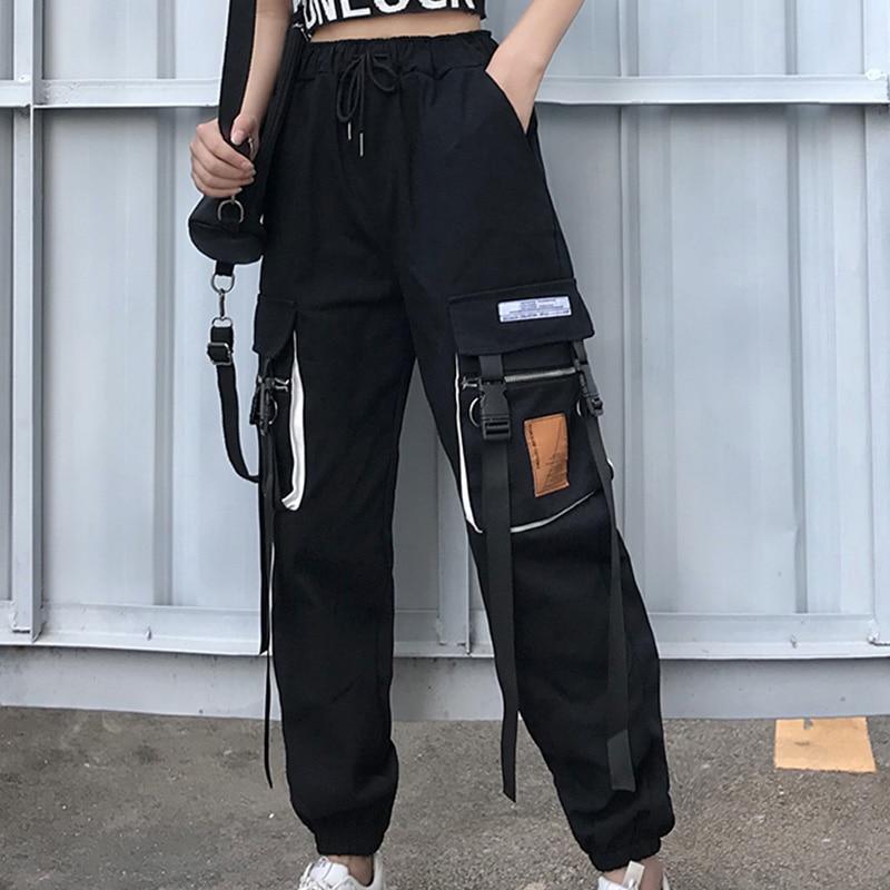 Spring Patchwork Cargo Pants Women Streetwear Casual HarajukuTrousers Hip Pop High Waist Sweatpants Big Pocket Loose Joggers