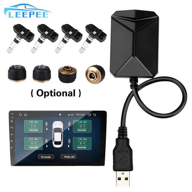Android Navigation Alarm System With 4 Sensors Wireless Transmission TPMS USB Android Car TPMS Tire Pressure Monitoring System