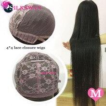 Silkswan бразильские волосы 4X4 кружева закрытие парик из натуральных Цвет 8-26 дюймов Пряди человеческих волос парики для волос с детскими волосами для Для женщин 130