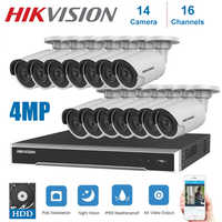 4K Network Hikvision 16Channels POE NVR Video Surveillance with 14pcs IP Camera  Security Night Vision CCTV Security System Kits