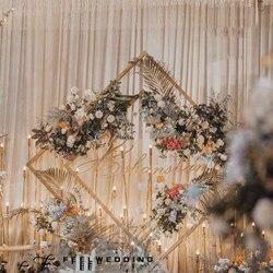 Bruiloft Boog Smeedijzeren Vierkante Vierhoek Diamond Plank Geometrische Kunstmatige Bloem Stand Party Achtergrond Decor Fram