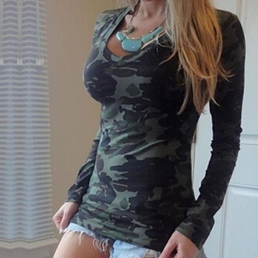Fashion Women T-shirt Top Camouflage Print V Neck Long Sleeve Pullover T-shirt Top For Women's Clothings