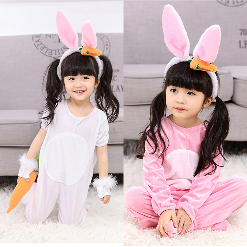 Children Girls Cute Pink Rabbit Cosplay Costumes Cartoon Princess Jumpsuit With Hair Clip Onesies Bunny Performance Set