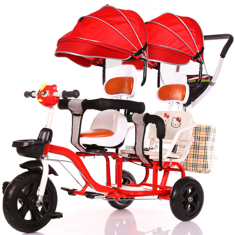 2019 New Children's Double Tricycle Stroller Baby Stroller Twin Baby Carriage Pushchair Cart Pneumatic Wheel1-6Y