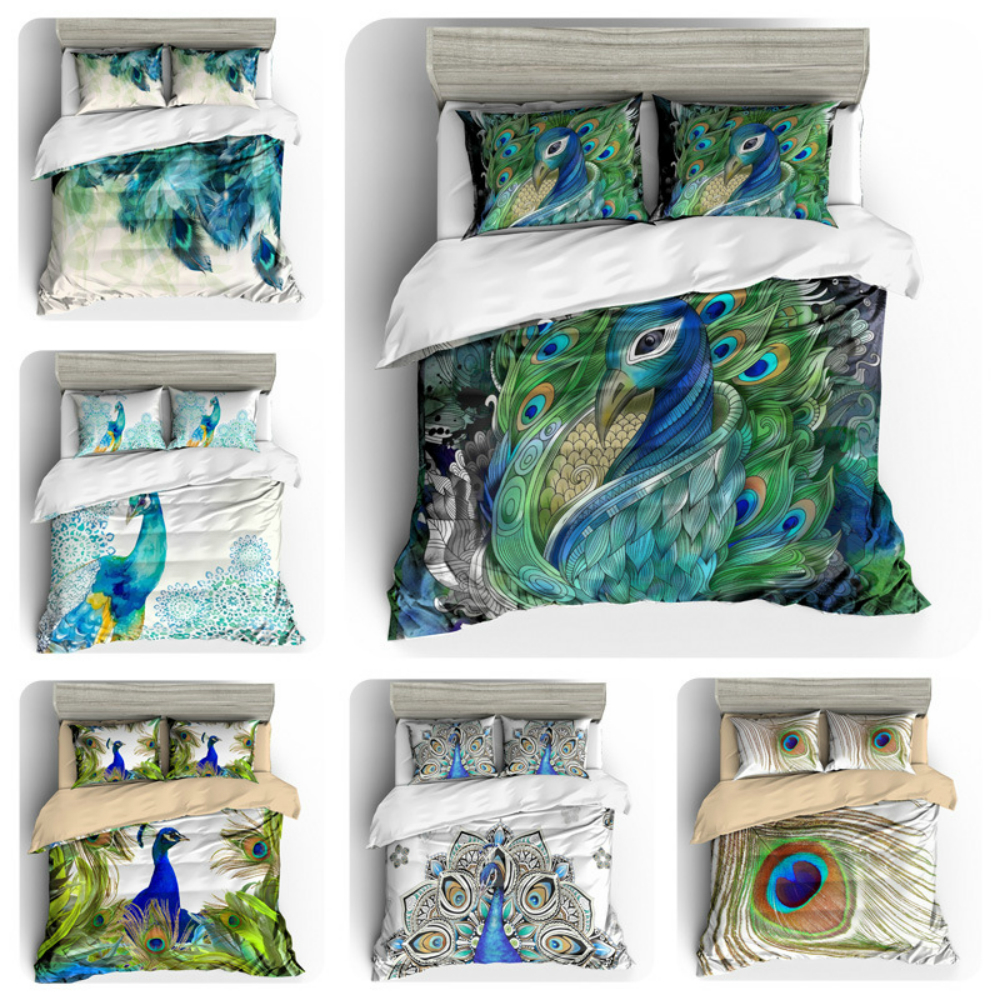 Drop Shipping Bedding Set 3D Printed Peacock For Home Duvet Cover Set With Pillowcase Queen King 12 Sizes Luxury Home Textile in Bedding Sets from Home Garden