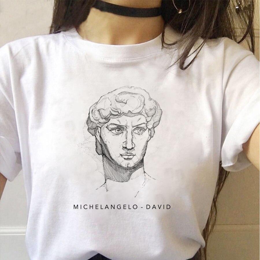 Harajuku Funny Black and White Drawing David Print Short Sleeve T-Shirt Fashion Women T-Shirt Loose O-neck Casual Female Tops Te