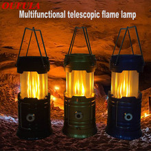Rechargeable Solar Power Outdoor Portable Lights Flame Battery Camping Led  Hiking Emergency Hiking Hunting Energy Lamp Lantern