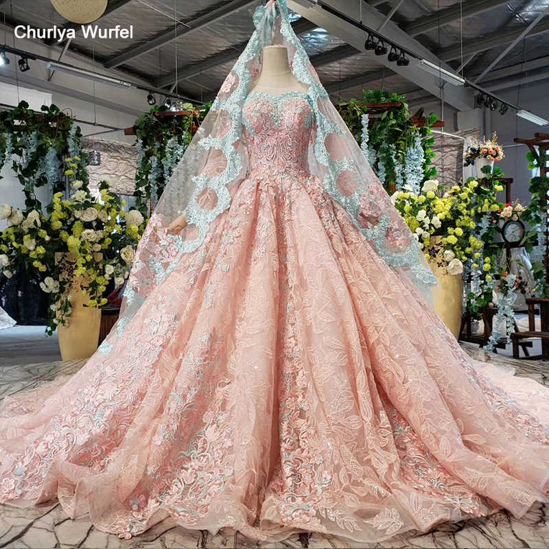 HTL828 pink evening dress long illusion illusion o-neck long sleeve muslim dress wedding lace appliques robe musulmane soiree