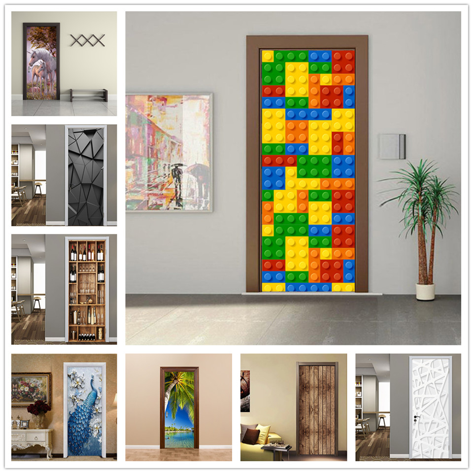 2Pcs/Set Door Stickers For Kids Rooms Home Decor Wallpaper 3D Doors Mural Living Room DIY PVC Waterproof Poster Adhesive Decals