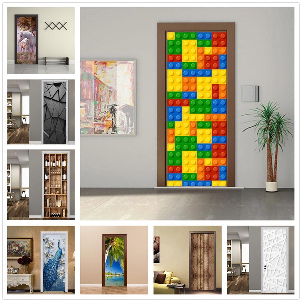 2Pcs/Set Door Stickers For Kids Rooms Home Decor Wallpaper 3D Doors Mural Living Room DIY PVC Waterproof Poster Adhesive Decals