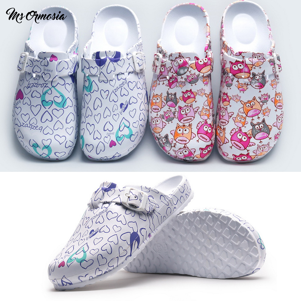 Doctor Operating Room Slippers Female Nurse Protective Work Shoes Men Printed Soft Bottom Non-slip Casual Shoes Waterproof Shoes