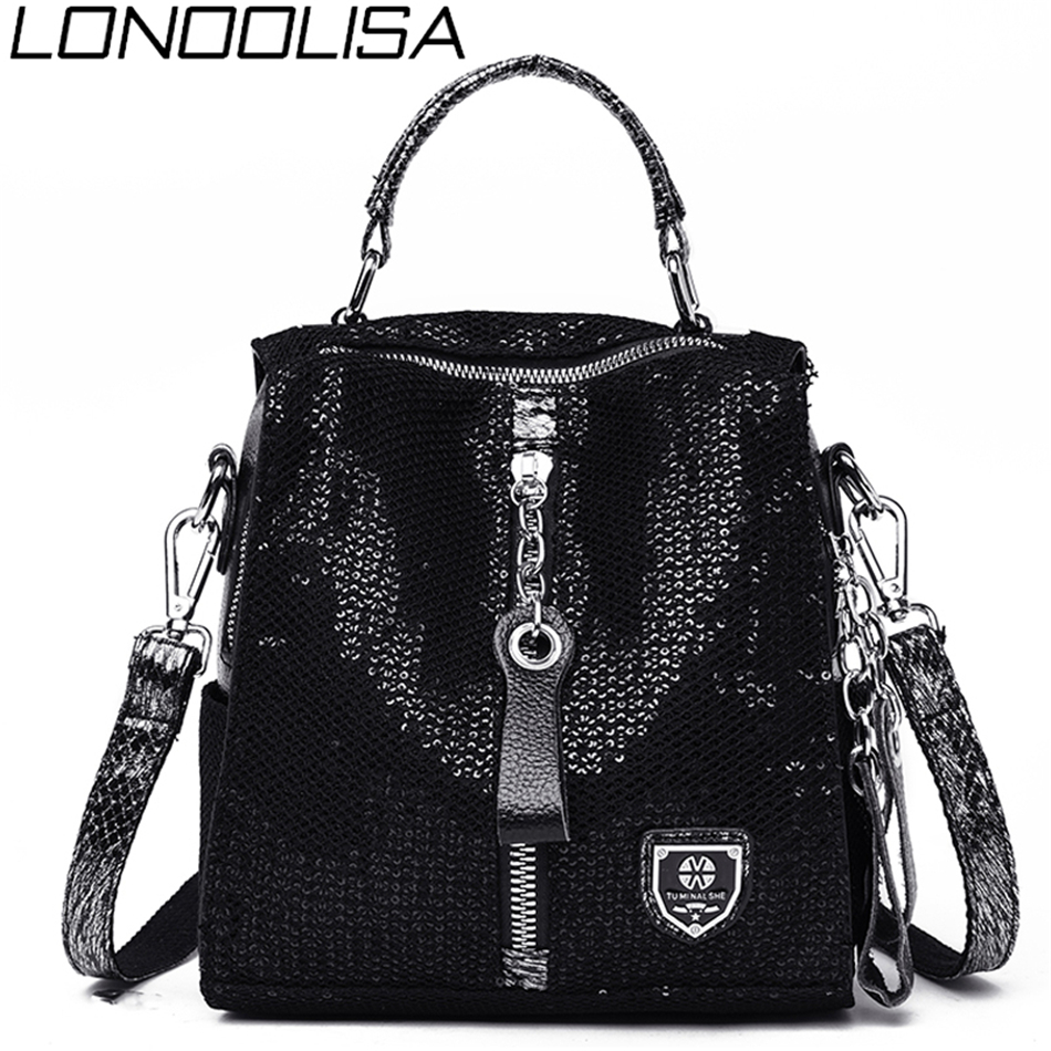 LONOOLISA Elephant Pattern Backpack 3-in-1 Women Backpack Leather Zipper School Shoulder Bags For Teenage Girls Sac A Dos Femme