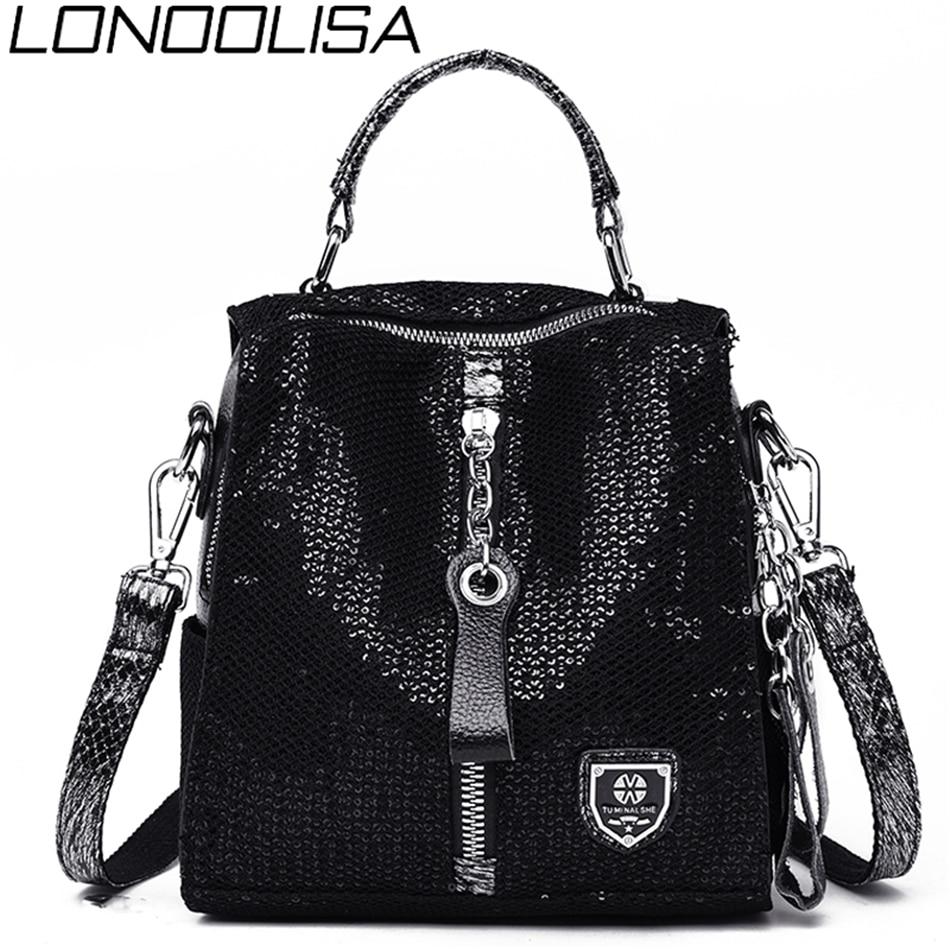LONOOLISA Elephant Pattern Backpack 3-in-1 Women Backpack Leather Zipper School Shoulder Bags For Teenage Girls Sac A Dos Femme