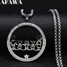 2019 Fashion Family Dad Mum Two Daughter Boys Crystal Stainless Steel Silver Color Chain Necklace Women Jewelry collares N19436 2019 family stainless steel necklace women jewlery silver color dad mum and son statement necklace jewelry gargantilla n18018