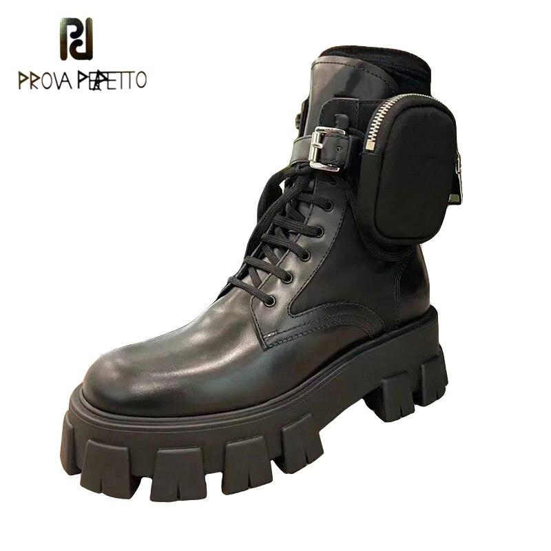 2020 mais novo moda dedo do pé redondo laço-up sólido genuíno couro da motocicleta botas femininas