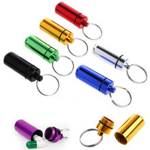 цена на Portable Pill Case with Keychain Aluminum Cache Drug Storage Box Outdoor First Aid Container Home Medicine Bottle WaterProof