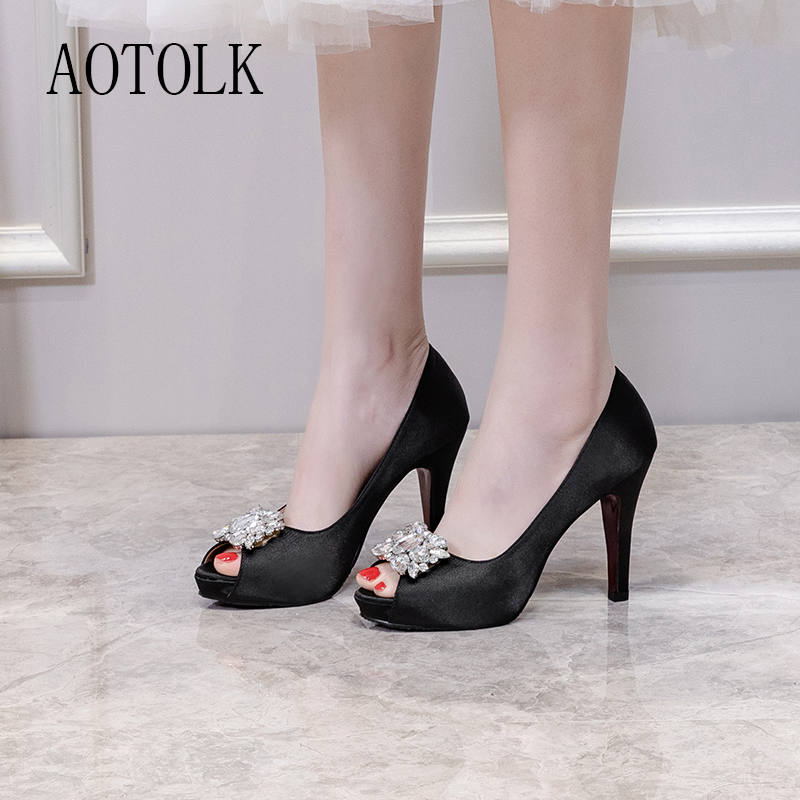Women Summer Shoes Rhinestone Wedding Pumps Open Toe Sexy High Heels Silk Light Shoes Crystal Thin Heels Summer New Arrival DE