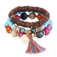 цены Fashion Natural Stone Bead Tassel Bracelets For Women Bohemian Multi-layer Ethnic Charm Bracelet Bangles Wristband Jewelry Girls