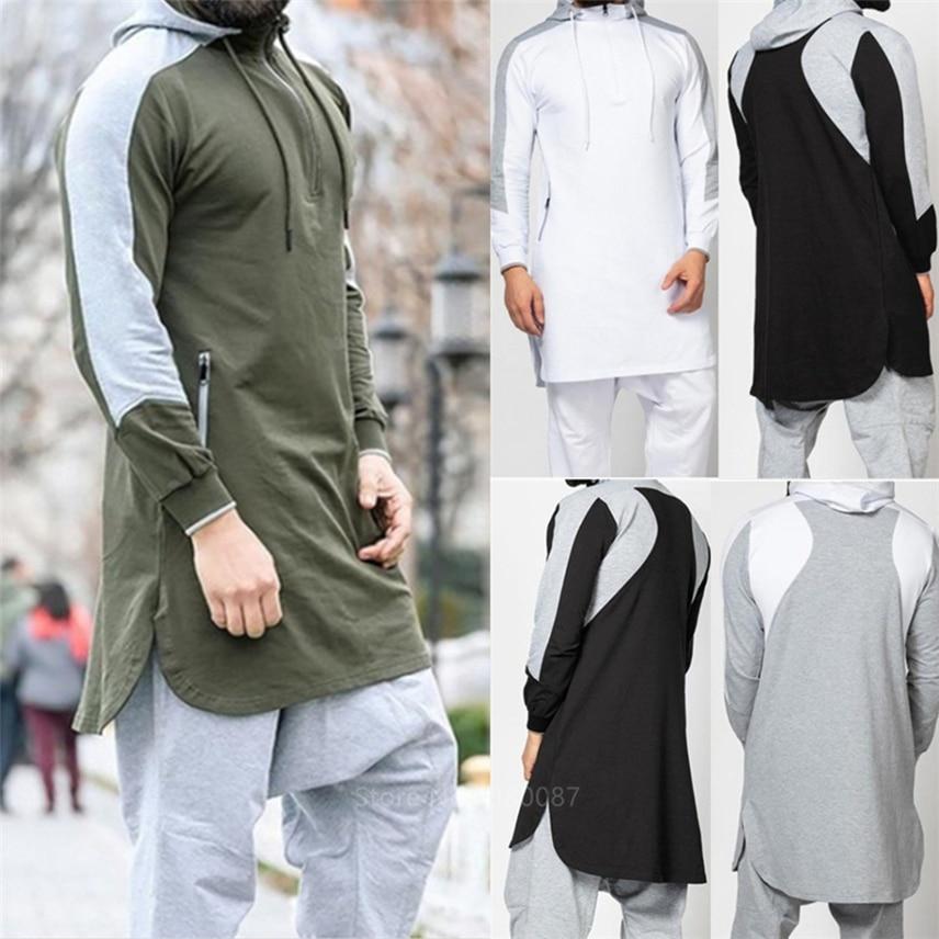 2020 New Men Jubba Thobe Muslim Arabic Islamic Clothing Abaya Dubai Kaftan Winter Long Sleeve Stitching Saudi Arabia Sweater