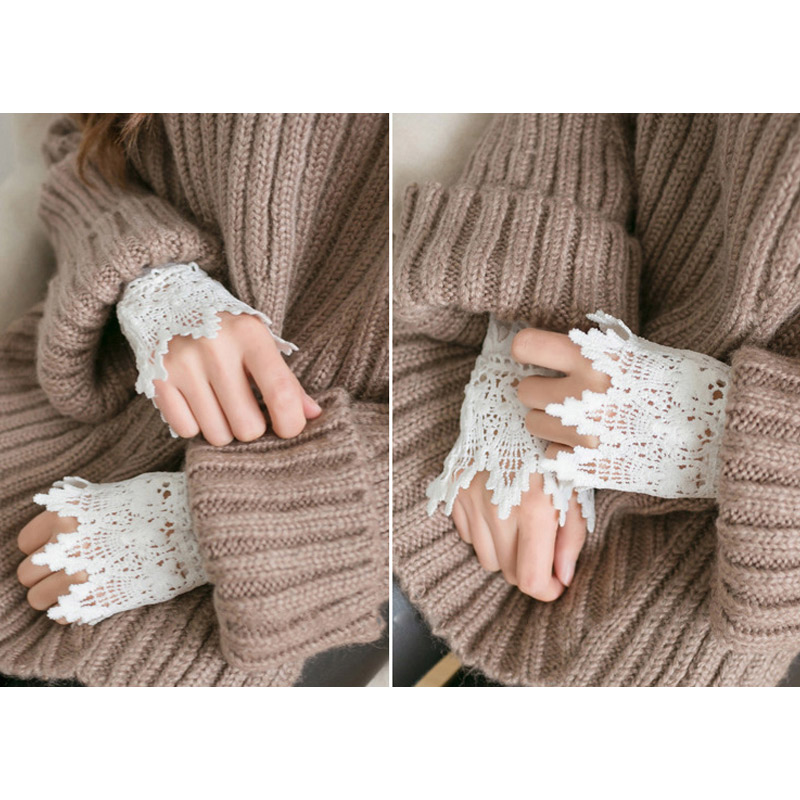 1 Pair Lace Wrist Sleeves Hollow Fake Cuff Elegant Gloves Accessories For Women Lady FEA889