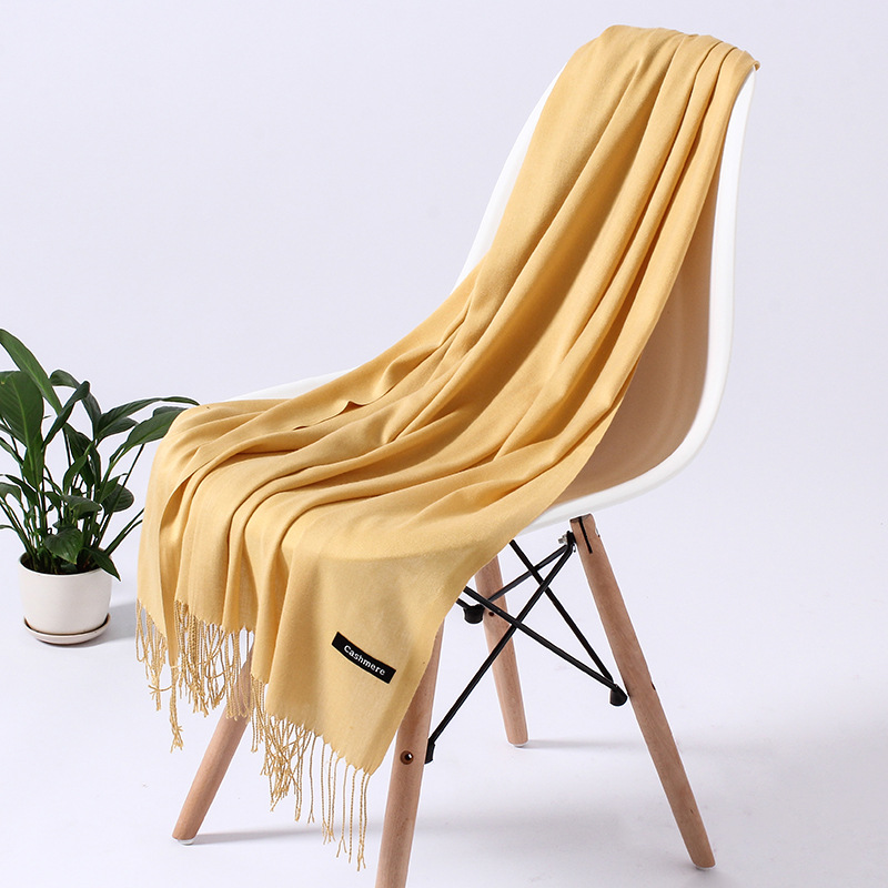 Однотонный кашемировый шарф для женщин новые длинные мягкие шали и палантины пашмины модные хиджаб с кисточками женские шейные шарфы - Цвет: 110g  deep yellow