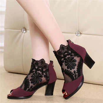 Rimocy 2019 summer ankle boots for women square high heels botines mujer lace shoes woman peep toe sandals embroider pumps femme