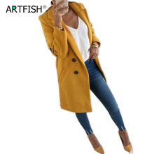 Women Wool Outwear Winter Woollen Coat Long Sleeve Turn-Down Collar Blends Jacket Elegant Lady Overcoats 3XL Plus Size GV782 cheap SMILE FISH Polyester Single Breasted REGULAR Full Slim Wool Blends Button Pockets Wollen Cloth Casual Solid Women Female Lady