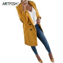 Women Wool Outwear Winter Woollen Coat Long Sleeve Turn-Down