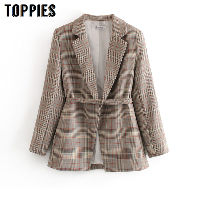 2020 Spring Lattice Jacket Women Belt Blazer Office Lady Formal Suit Jacket Fashion Slim Coat