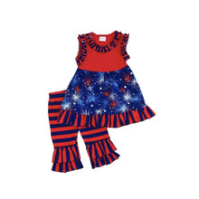 Comemorado crianças menina remake vintage roupas plissado bebê meninas boutique julho 4th conjunto de roupa frete grátis