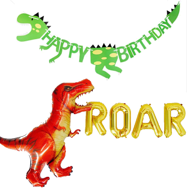 roar balloon Banner Jungle Dinosaur T-Rex theme first 1st 2nd 3rd 4th 5th 6th 7th <font><b>8th</b></font> 9th 10th happy <font><b>birthday</b></font> Party Decoration image