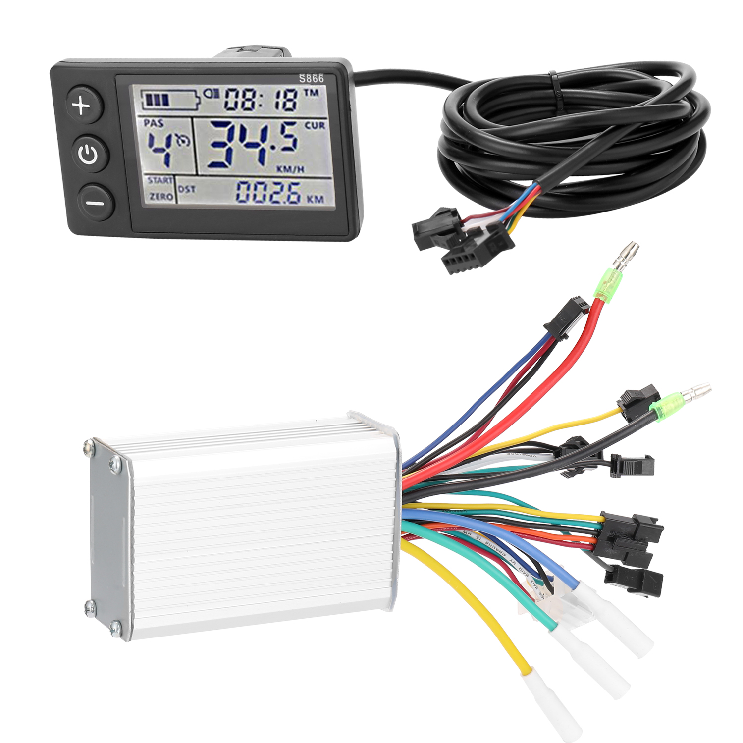 Electric Bike Controller 24V/48V/36V/<font><b>60V</b></font> 350W Brushless E-bike Controller with LCD Display Bicycle <font><b>Motor</b></font> Scooter Controller S866 image