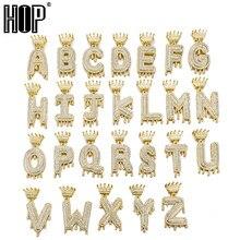 Collier et pendentif avec lettres à bulles pour homme et femme, bijou Hip Hop, en Zircon cubique glacé