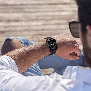 Image 4 - Correa de acero inoxidable para Apple Watch, banda de 44/40mm para iWatch de 42mm/38mm, pulsera de Metal con hebilla de mariposa para Apple watch 6 SE 5 4 3