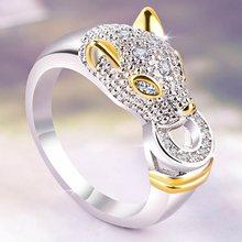 2019 nouveau modèle couleur argent bague panthère pour les femmes bague créative zircon cubique anneau fête mode bijoux accessoires