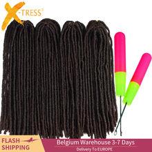 Синтетические вязанные крючком косички для наращивания волос дреды Омбре коричневые цветные X-TRESS мягкие прямые косички из искусственного ...