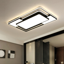 Modern Led Flush Mount Ceiling Light Fixture with Remote Control  Black Dimmable Ceiling Lamp for Kitchen Bedroom Living Room