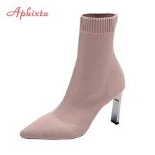 Socks Boots Heels Stilettos Stretch-Fabric Shoes Woman Pointed-Toe Aphixta Metal Women